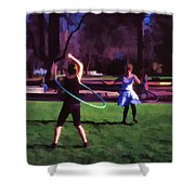 Hula Digital Art By Cathy Anderson Shower Curtain