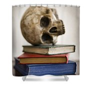Human Skull And Books Shower Curtain