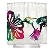 Hummingbird Art - Tropical Chorus - By Sharon Cummings Shower Curtain