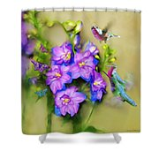 Hummingbirds Butterflies And Flowers Shower Curtain