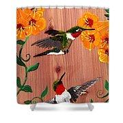 Hummingbirds On Cedar Shower Curtain