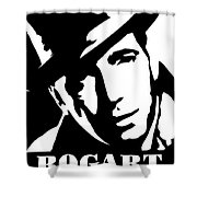 Humphrey Bogart Black And White Pop Art Shower Curtain