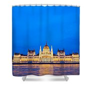 Hungarian Parliament Building At Dusk Shower Curtain