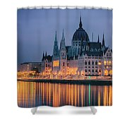 Hungarian Parliament Dawn Shower Curtain
