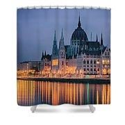 Hungarian Parliament Dawn Shower Curtain