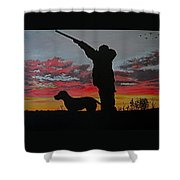 Hunting At Sunset Shower Curtain