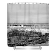 Hunting Island Beach In Black And White Shower Curtain