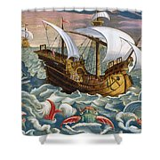 Hunting Sea Creatures Shower Curtain by Jan Collaert