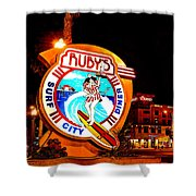 Huntington Beach Downtown Nightside 2 Shower Curtain by Jim Carrell