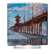 Huntington Beach Pier 2 Shower Curtain