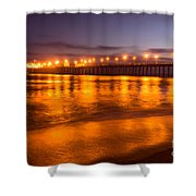 Huntington Beach Pier At Night Shower Curtain