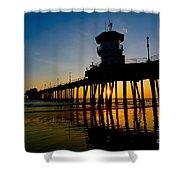 Huntington Beach Pier At Sunset Shower Curtain