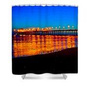 Huntington Beach Pier - Nightside Shower Curtain