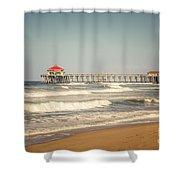 Huntington Beach Pier Retro Toned Photo Shower Curtain by Paul Velgos
