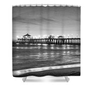 Huntington Beach Pier Twilight - Black And White Shower Curtain