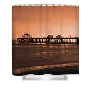 Huntington Beach Pier - Twilight Sepia Shower Curtain by Jim Carrell