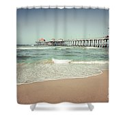 Huntington Beach Pier Vintage Toned Photo Shower Curtain by Paul Velgos