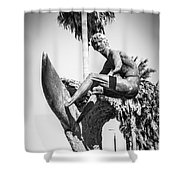 Huntington Beach Surfer Statue Black And White Picture Shower Curtain by Paul Velgos