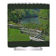 Huron River Bend Shower Curtain