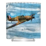 Hurricane Fighter Watercolour Shower Curtain