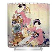 Hutari Mai Shower Curtain by Haruyo Morita