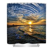 Hypnotic Sunset At Israel Shower Curtain by Ron Shoshani
