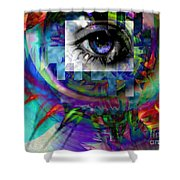 I Abstract Shower Curtain by Elizabeth McTaggart