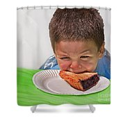 I Don't Want To - Pie Eating Contest Art Prints Shower Curtain