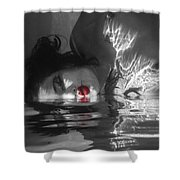 I Float On Red Shower Curtain