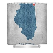 I Love Chicago Illinois - Blue Shower Curtain
