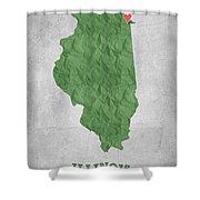 I Love Chicago Illinois - Green Shower Curtain