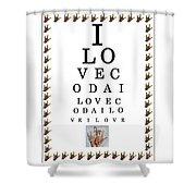 I Love Coda Eye Chart Shower Curtain