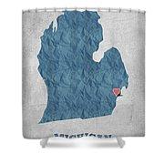 I Love Detroit Michigan - Blue Shower Curtain