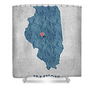 I Love Springfield Illinois - Blue Shower Curtain