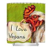 I Love Vegans Shower Curtain