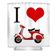 I Love Vespa Shower Curtain
