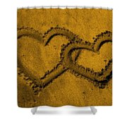 I Love You In The Sand Shower Curtain