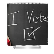 I Voted Sign On Chalkboard Shower Curtain