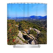 Ibiza Mountains Shower Curtain