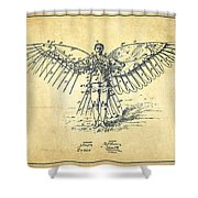 Icarus Flying Machine Patent Drawing-vintage Shower Curtain