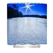 Ice And Snow Frozen Over Lake On Sunny Day Shower Curtain