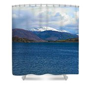 Ice Capped Mountains At Ullapool Shower Curtain