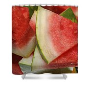 Ice Cold Watermelon Slices 2 Shower Curtain by Andee Design