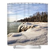 Ice Covered Shores Of Lake Michigan Shower Curtain