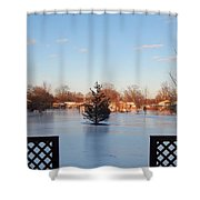 Satin Ice Covered Snow Shower Curtain