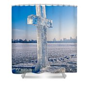 Ice Cross On The Frozen Dniepr Shower Curtain