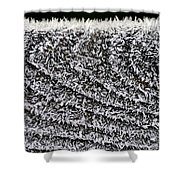 Ice Crystals On Wood Railing Shower Curtain