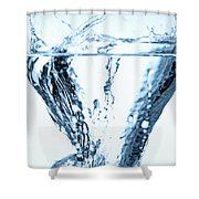 Ice Cube Splashing Into Water Shower Curtain