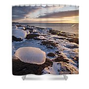 Ice Cubes And Sunrise Shower Curtain