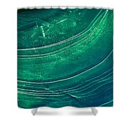 Ice Curve In Green Shower Curtain